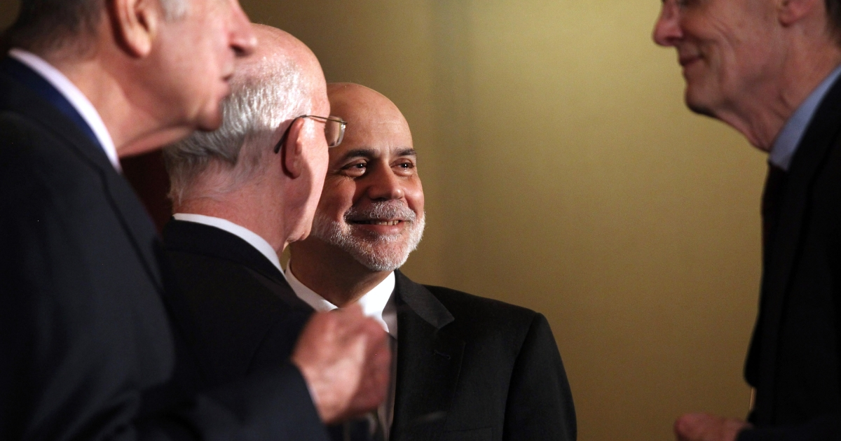 Ben Bernanke, Chairman of the Board of Governors of the Federal Reserve System, prepares to speak on April 13, 2012 in New York City. The Fed chairman gave the keynote address at the