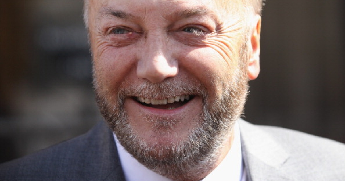 George Galloway appears for a photograph in front of the Houses of Parliament prior to being sworn in as a member of parliament on April 16, 2012 in London, England.</p>
