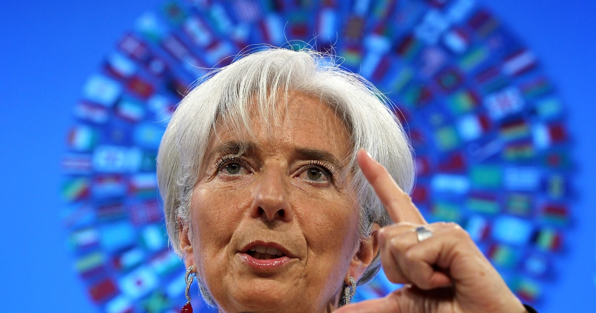 International Monetary Fund Managing Director Christine Lagarde speaks during a briefing at the IMF headquarters April 19, 2012 in Washington, DC. The International Monetary Fund and World Bank are holding their 2012 spring meeting through April 21.</p>