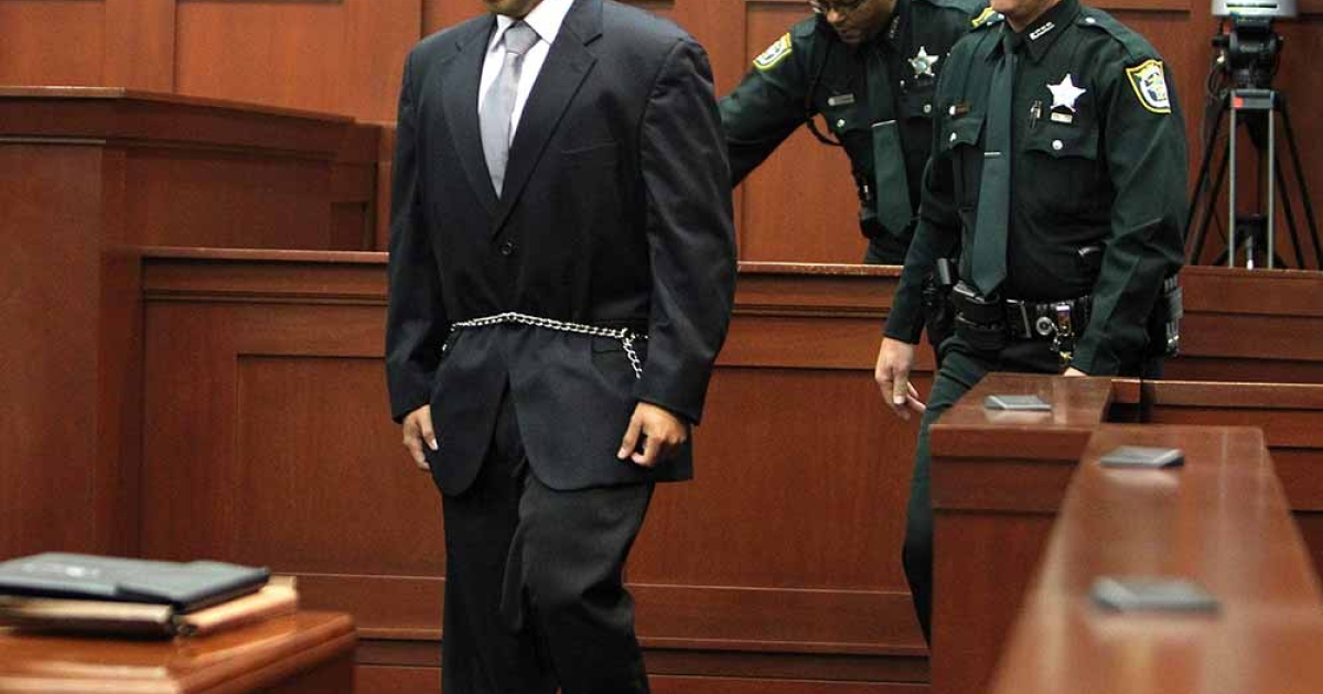George Zimmerman enters into the courtroom of Circuit Judge Kenneth Lester on April 20. 2012, in Sanford, Florida, for a bond hearing in the shooting death of Trayvon Martin.</p>