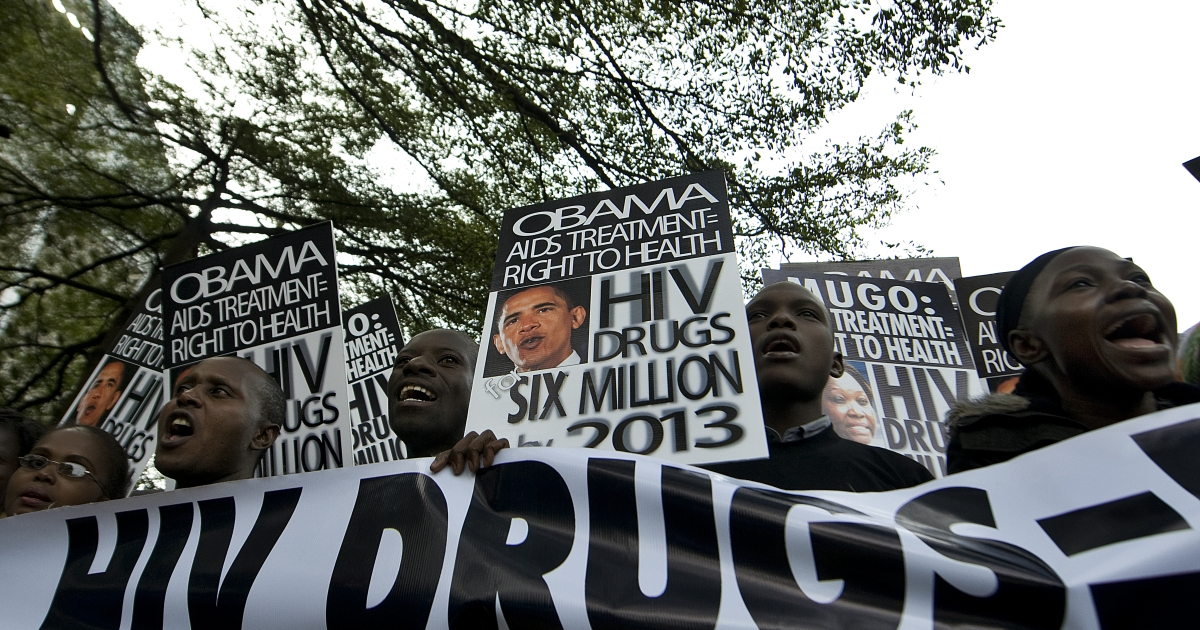 HIV/AIDS activists, some of them living with the virus, yell during a demonstration April 25, 2012 in Nairobi on the sidelines of a joint conference sponsored by the US embassy here and Kenya's vision 2030 about health and reducing mortality in the East African nation. The activists demanded that the US HIV program, PEPFAR, and the Kenya government work together to utilize some $500 million of unspent funds to get desperately needed HIV treatment to more Kenyans.</p>