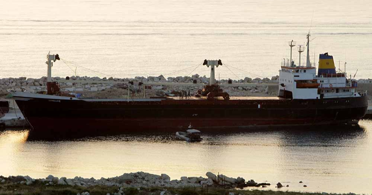 The vessel 'Lutfallah II' docks at the port of Selaata, north of Beirut, on April 27, 2012 after it was intercepted by the Lebanese navy for being suspected of carrying weapons destined for Syria's rebel army, a security official said.</p>
