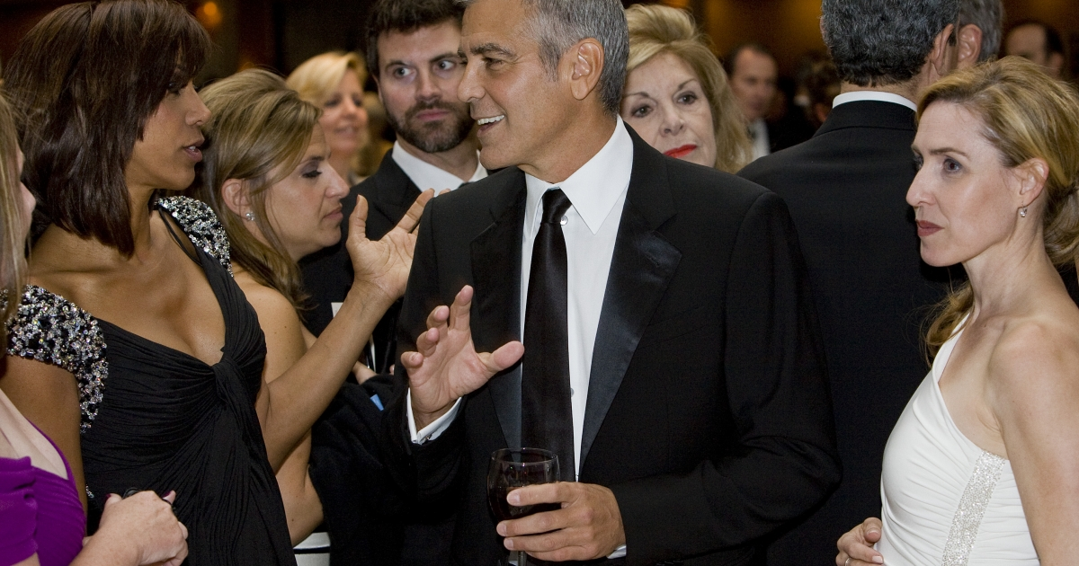 George Clooney at the 2012 White House Correspondents' Association Dinner, held in DC days befoe his owne fudraiser for Obama in Hollywood.</p>