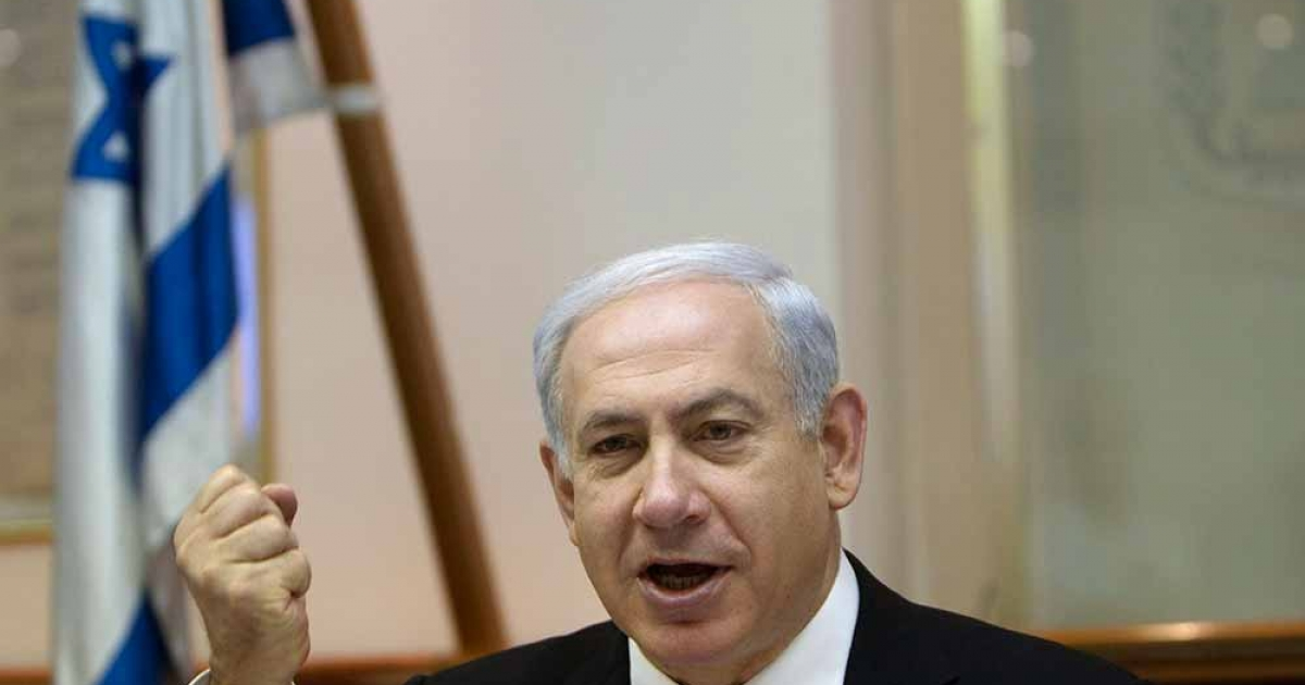 Israeli Prime Minister Benjamin Netanyahu speaks during the weekly cabinet meeting in Jerusalem on April 29, 2012. Israel was buzzing with the possibility of an early election after a key partner in the ruling right-wing coalition threatened to pull out, and the opposition called for an autumn vote.</p>