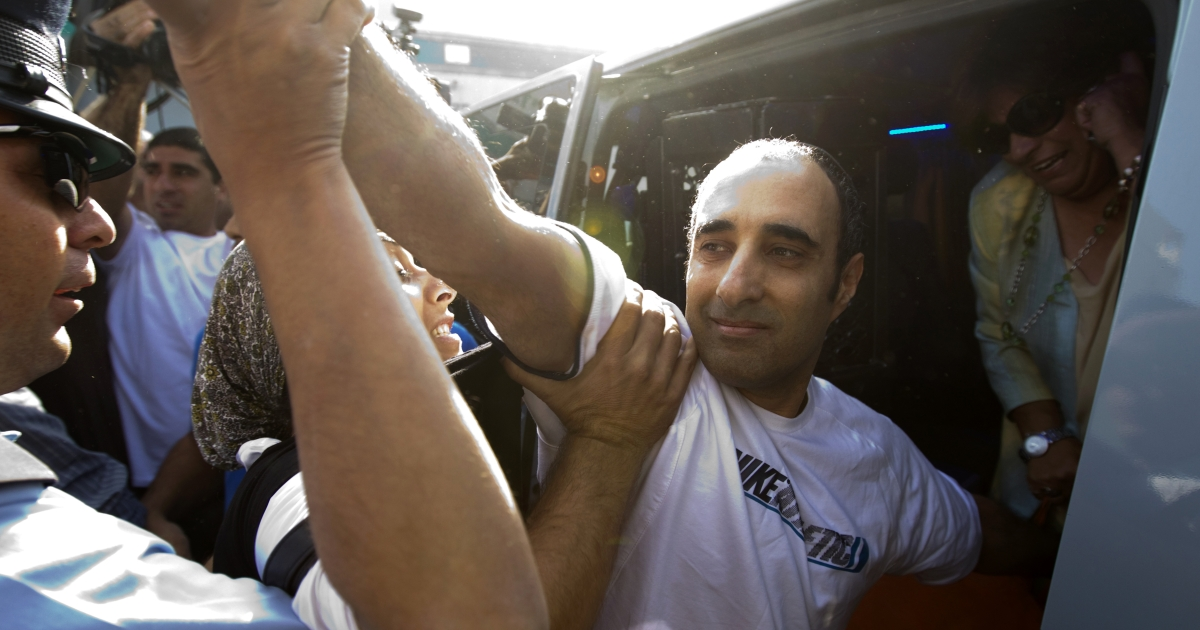 Haggai Amir, the brother and key accomplice of the man who assassinated Israeli prime minister Yitzhak Rabin, gets into a car after leaving Ayalon prison in Ramla near Tel Aviv on May 4, 2012.</p>