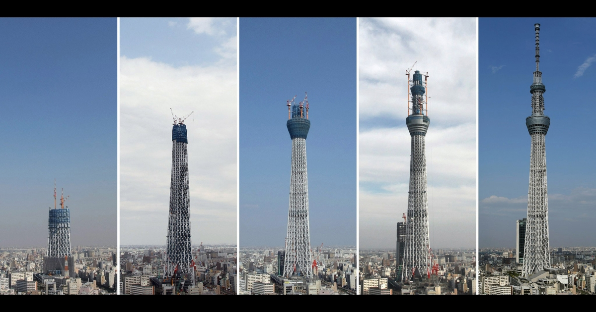 This combo picture, taken on (L-R) October 13, 2009, April 14, 2010, August 17, 2010, December 1, 2010 and May 16, 2012 shows construction progression of the Tokyo Skytree.</p>