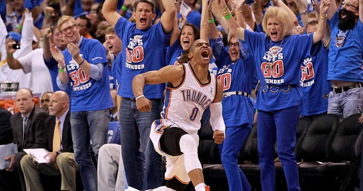 Russell Westbrook #0 of the Oklahoma City Thunder reacts after scoring while fouled against the Los Angeles Lakers during Game Five of the Western Conference Semifinals of the 2012 NBA Playoffs at Chesapeake Energy Arena on May 21, 2012 in Oklahoma City, Oklahoma.</p>