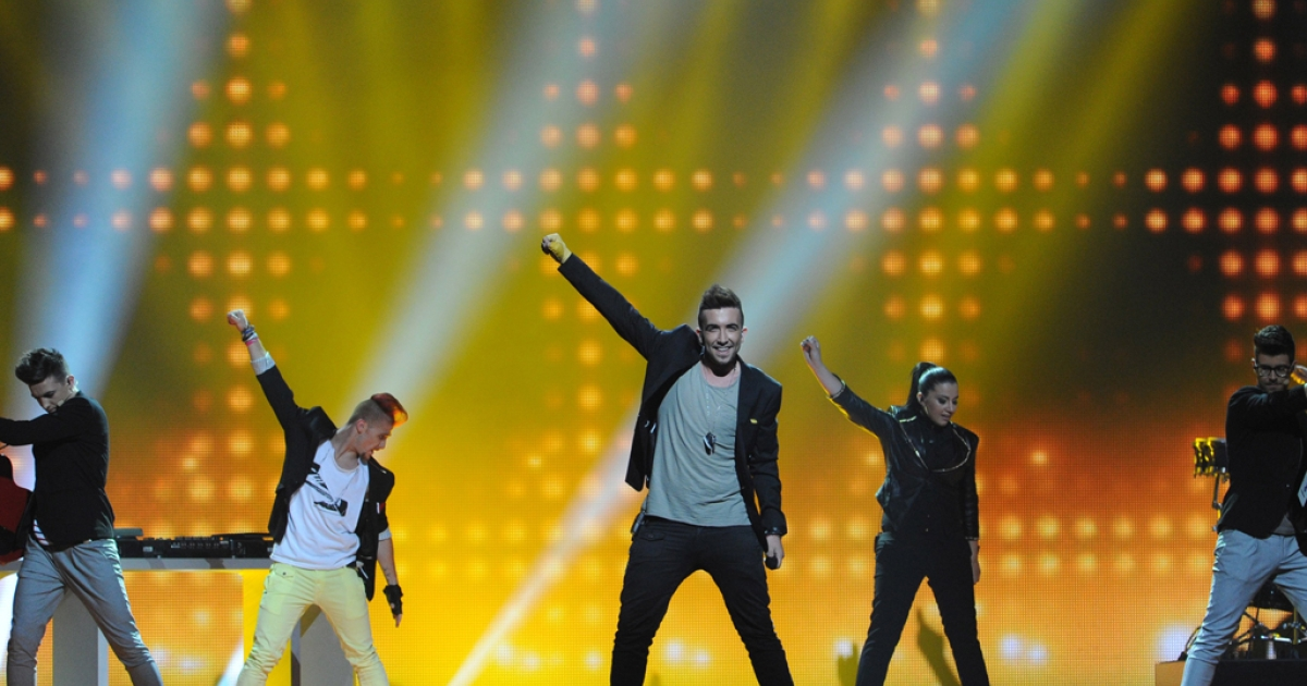 Malta's Kurt Calleja performs during a dress rehearsal for the Second Semi-Final of the Eurovision 2012 song contest in the Azerbaijan's capital Baku, on May 23, 2012.</p>
