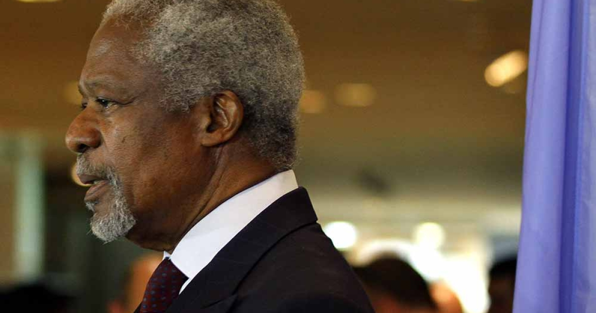 UN-Arab League peace envoy Kofi Annan speaks to the press upon his arrival in Damascus for talks with top officials on May 28, 2012. Annan said he was 'shocked' at the weekend's 'tragic events' in the central Syrian town of Houla where the Syrian government used artillery in which at least 108 people were killed.</p>
