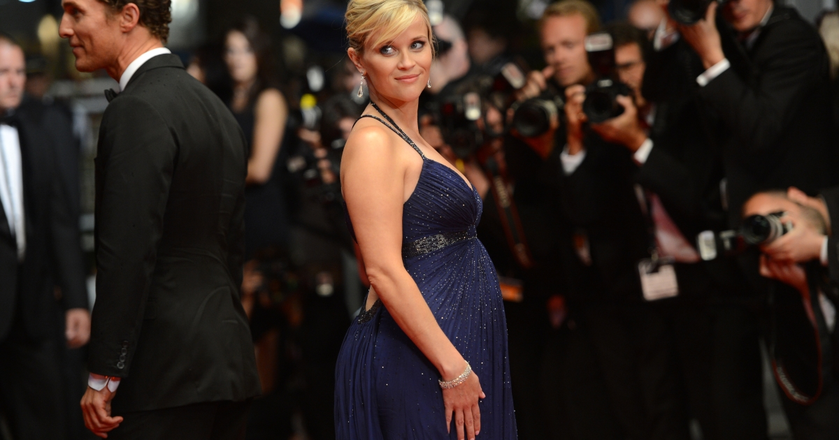 US actress Reese Witherspoon poses as she leaves the Festival Palace following the screening of the film