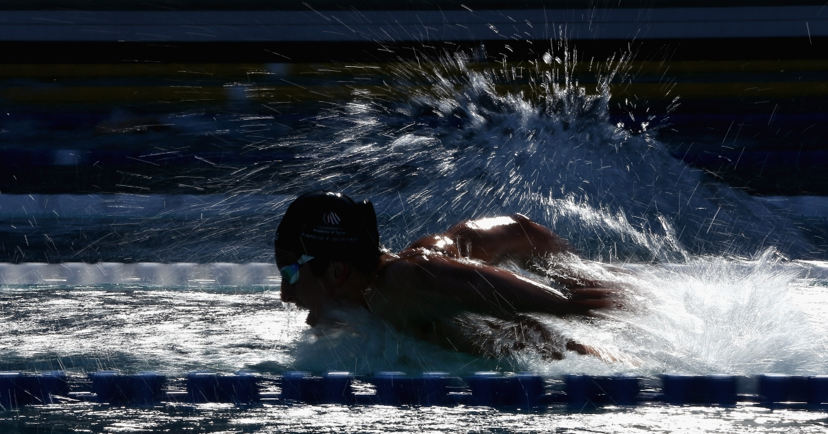 Australian swimmer Nick D'Arcy competes in the men's 200 meter butterfly final during day 4 of the Santa Clara International Grand Prix at George F. Haines International Swim Center on June 3, 2012 in Santa Clara, California.</p>