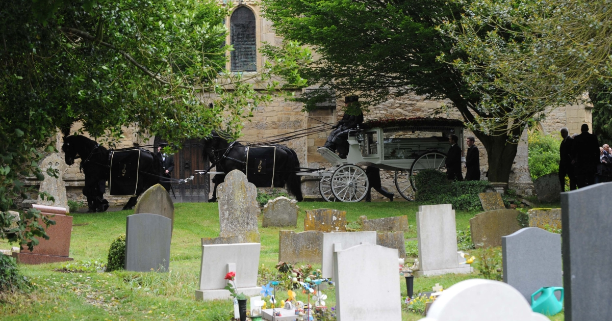 General view of Robin Gibb's Horse Drawn Glass Carriage at St Mary's Church, in Priest End, Thame on June 8, 2012 in Oxford, England.</p>