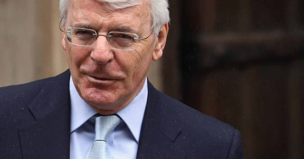 Former British Prime Minister John Major arrives to give evidence at the Leveson Inquiry on June 12, 2012 in London, England.</p>