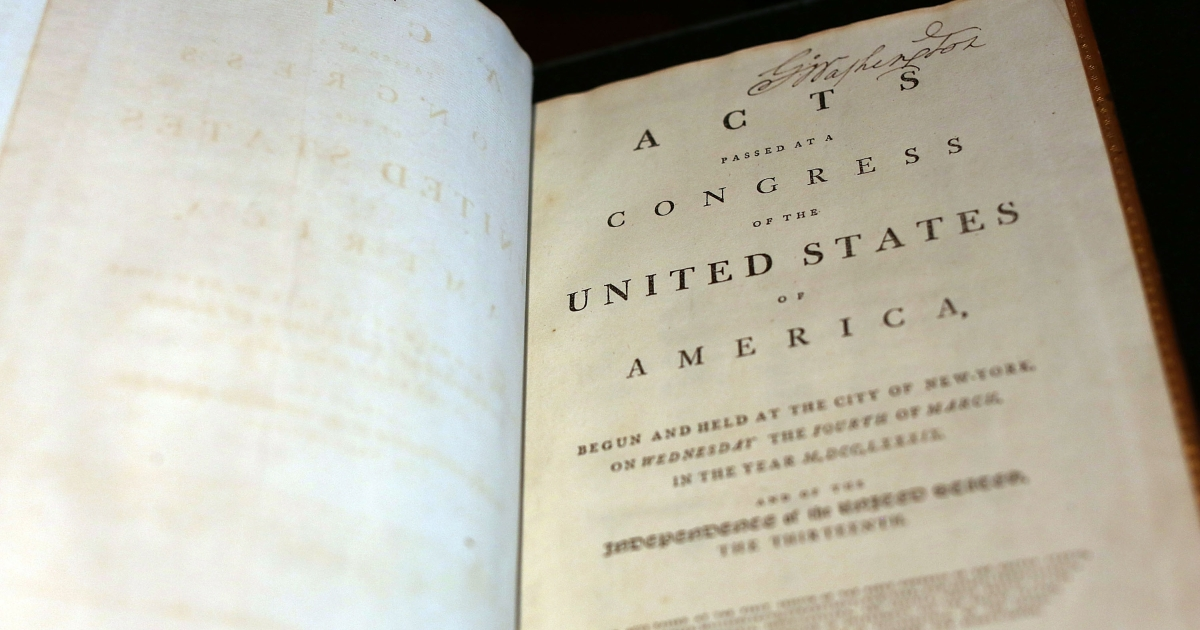 A copy of former President George Washington's personal copy of the Constitution and Bill of Rights is viewed at Christie's auction house on June 15, 2012 in New York City.</p>