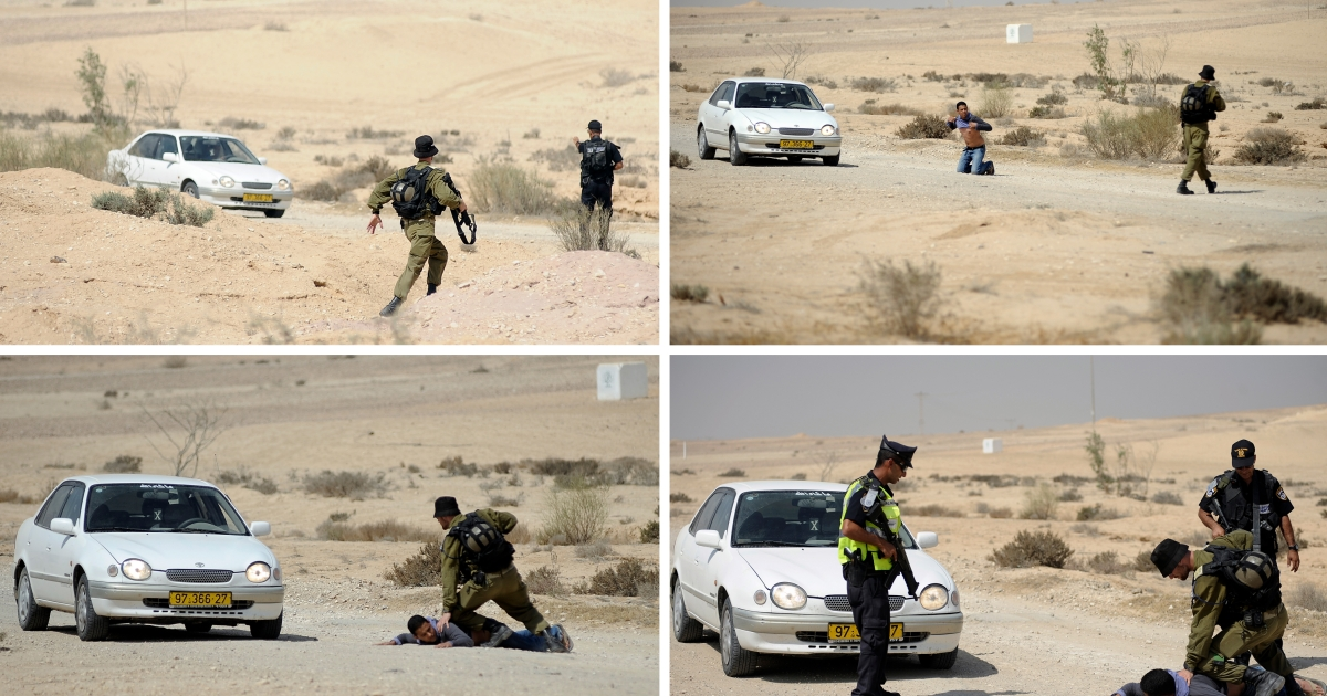 A combination of pictures shows Israeli policemen and a soldier detaining an Arab-Israeli after he tried to pass a road block made by the police in the Israeli Negev desert, south of Beer Sheva on June 18, 2012.</p>