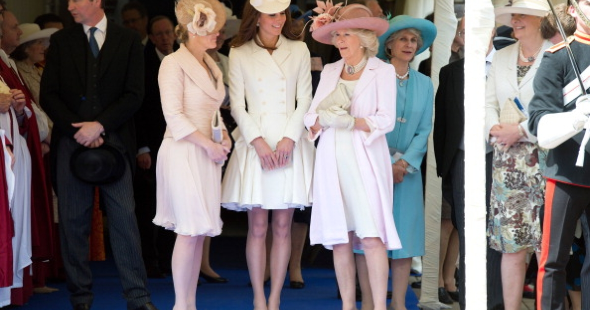Sophie Rhys-Jones, Countess of Wessex, Camilla, Duchess of Cornwall and Catherine, Duchess of Cambridge watch the Order of the Garter procession at Windsor Castle on June 18, 2011 in Windsor, England.</p>