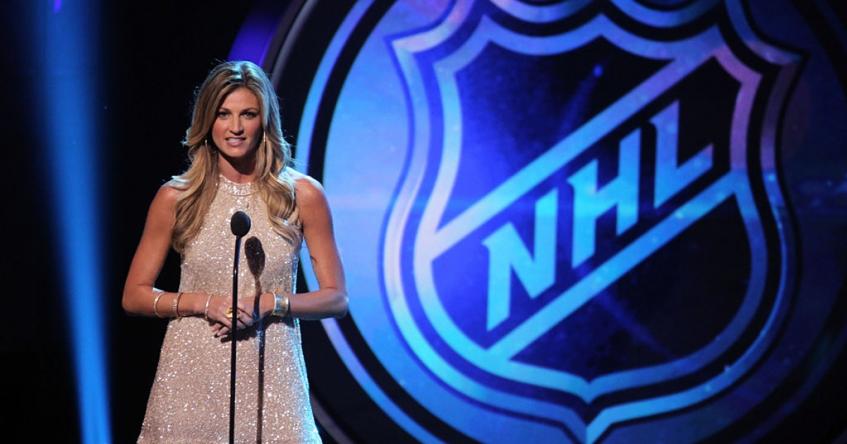 LAS VEGAS, NV - JUNE 20: TV personality Erin Andrews presents an award during the 2012 NHL Awards at the Encore Theater at the Wynn Las Vegas on June 20, 2012 in Las Vegas, Nevada.</p>