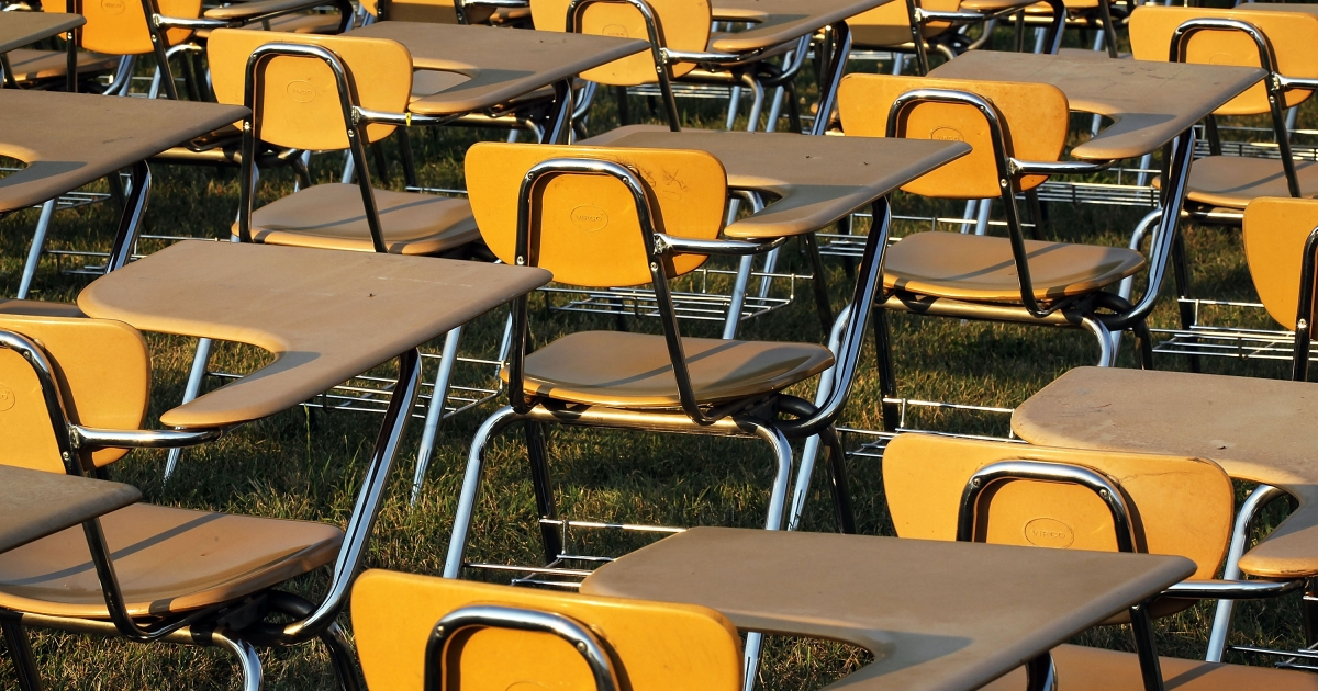 College Board set up an installation of 857 desks to represent the number of students in the United States who drop out of school each hour of a school day.</p>