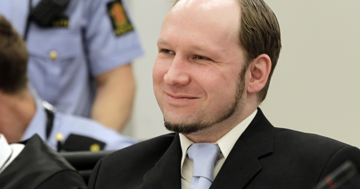 Right-wing extremist Anders Behring Breivik gestures on the last day of his trial on June 22, 2012.</p>