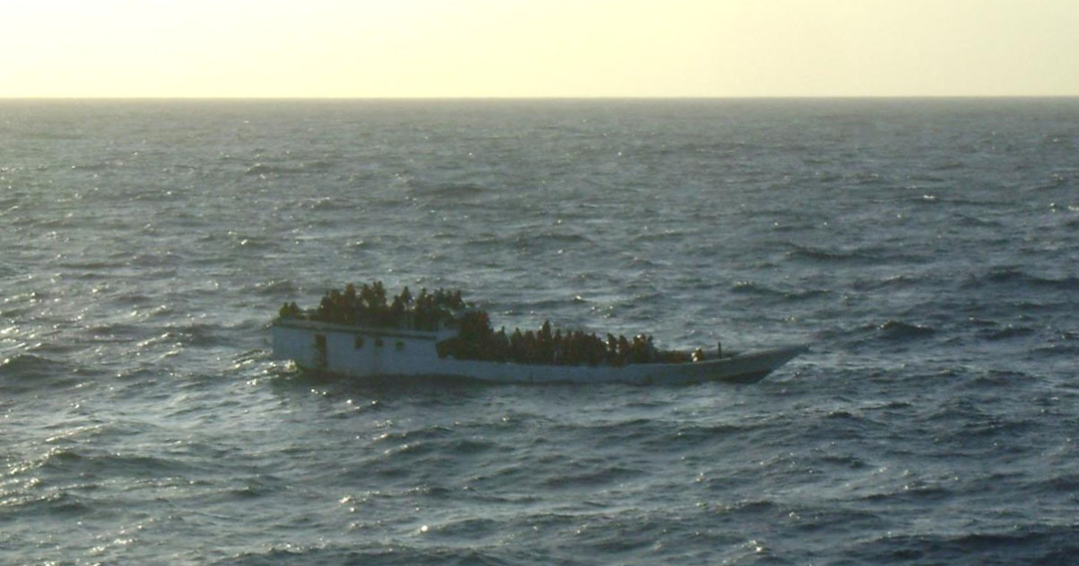 The asylum seeker boat carrying up to 150 people photographed by crew onboard MV Bison prior to the vessel sinking north of Christmas Island, Australia, on June 27, 2012.</p>