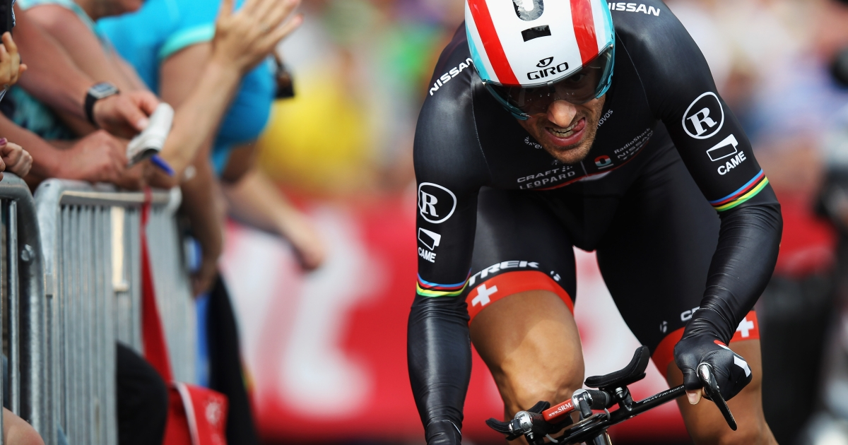 Fabian Cancellara of Switzerland in action on his way to winning the Tour de France Prologue at Parc d'Avroy on June 30, 2012 in Liege, Belgium.</p>