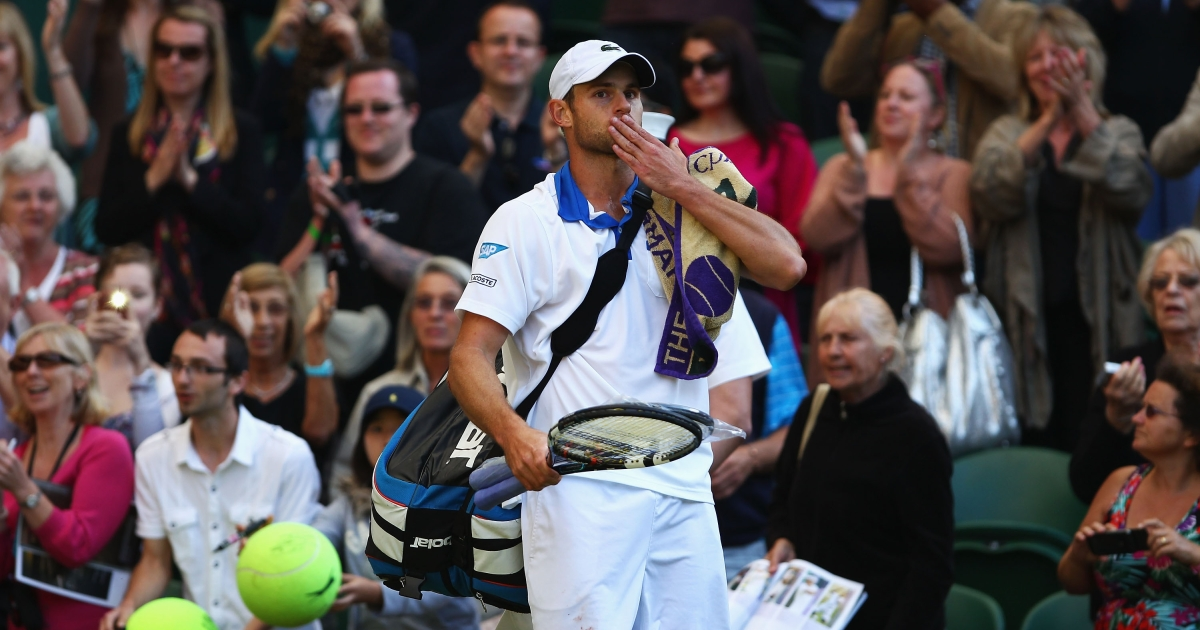 Andy Roddick of the USA waves to the crowd as he walks off court after being defeated in his Gentlemen's Singles third round match against David Ferrer of Spain on day six of the Wimbledon Lawn Tennis Championships at the All England Lawn Tennis and Croquet Club at Wimbledon on June 30, 2012 in London, England.</p>