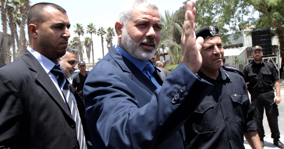 Palestinian Hamas premier in the Gaza Strip Ismail Haniya is pictured upon his arrival to the Rafah border crossing in the southern Gaza Strip on July 25, 2012 following a visit to Egypt.</p>