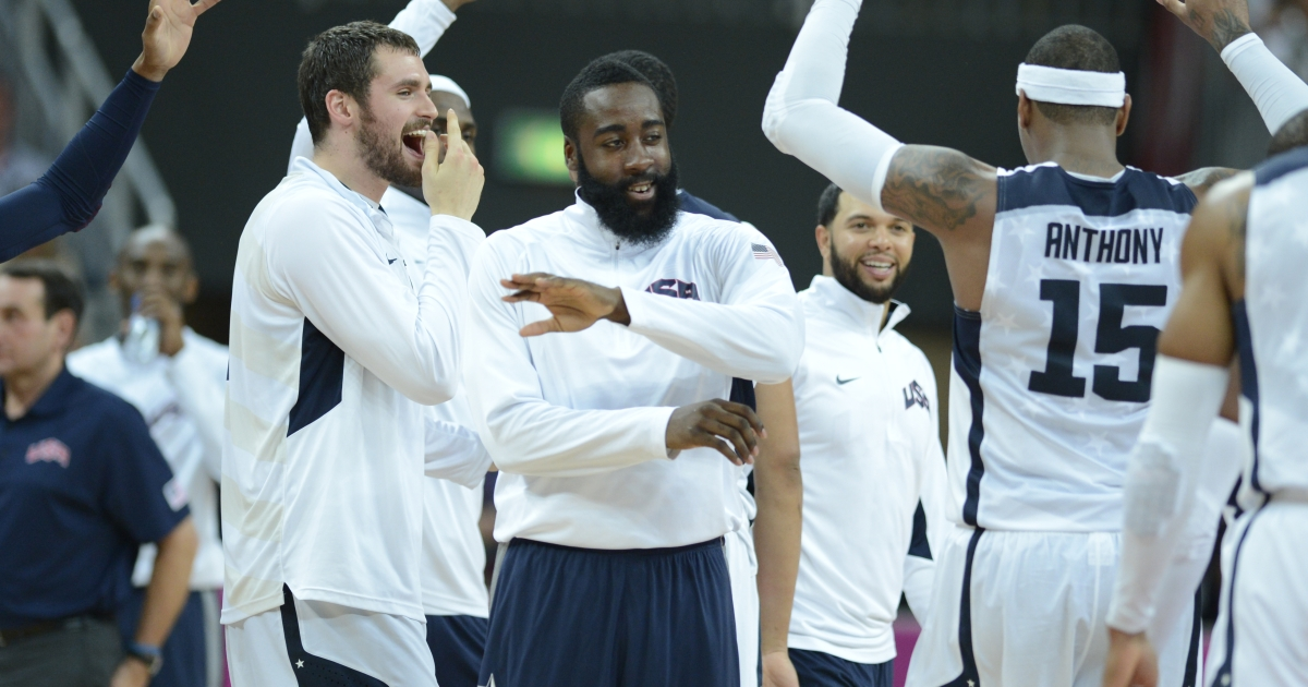 Team USA celebrating another basketball victory.</p>