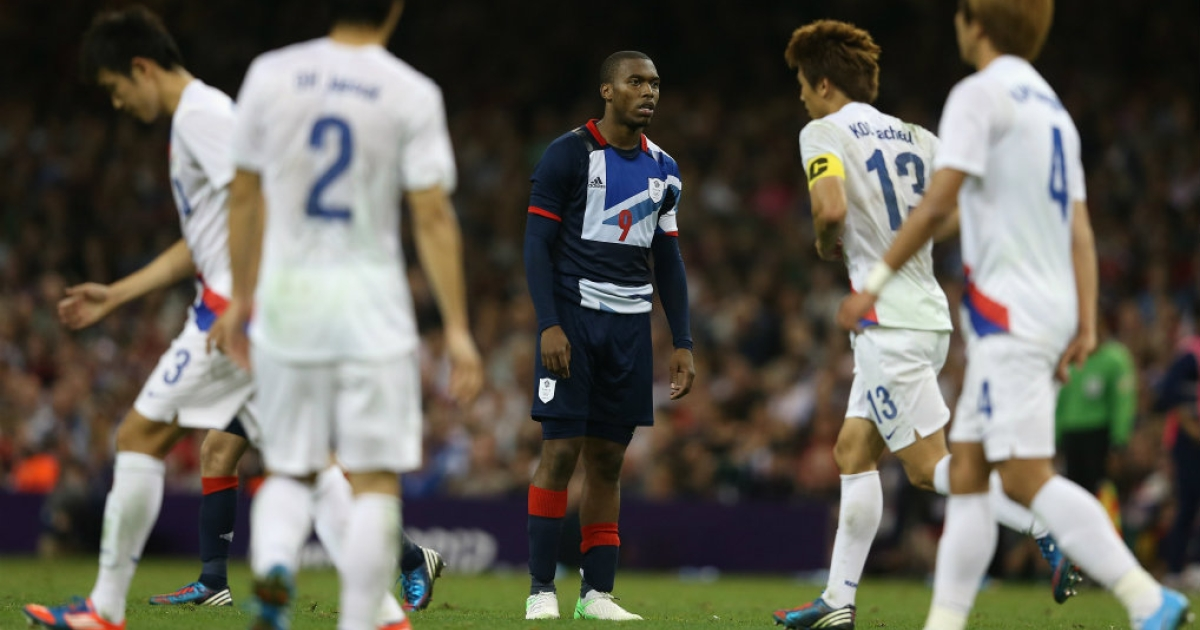Daniel Sturridge reacts after missing a penalty kick at the Men's Football Quarter Final match between  Great Britain and Korea, on Day 8 of the London 2012 Olympic Games at Millennium Stadium on August 4, 2012 in Cardiff, Wales.</p>