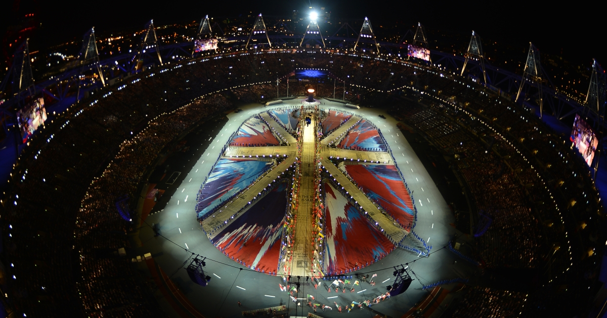 General view of the closing ceremony of the 2012 London Olympic Games, at the Olympic Stadium in London, on August 12, 2012. A</p>