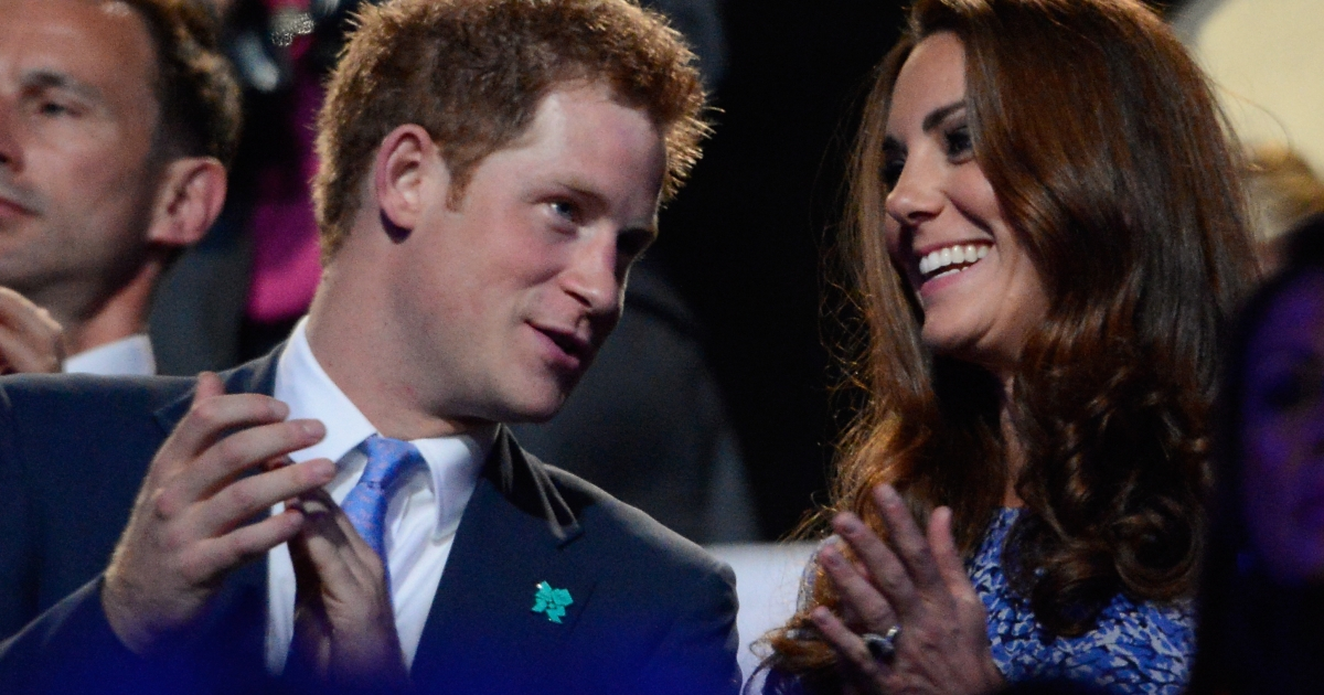 Prince Harry and Kate Middleton (a.k.a. Catherine, Duchess of Cambridge) applaud in the stands of the Olympic stadium during the closing ceremony of the 2012 London Olympic Games in London on August 12, 2012.</p>