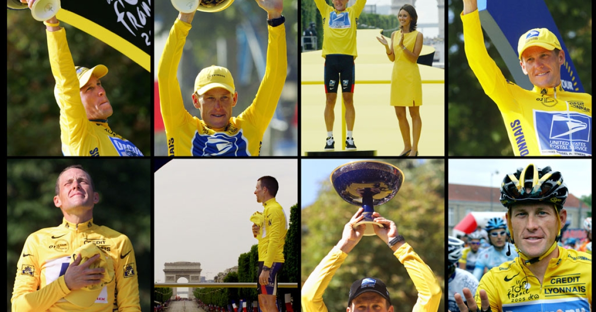 From top left, Lance Armstrong celebrates his Tour de France titles in 2005, 2004, 2003, 2002, 2001, 2000 and 1999 on the podium on the Champs-Elysees in Paris.</p>