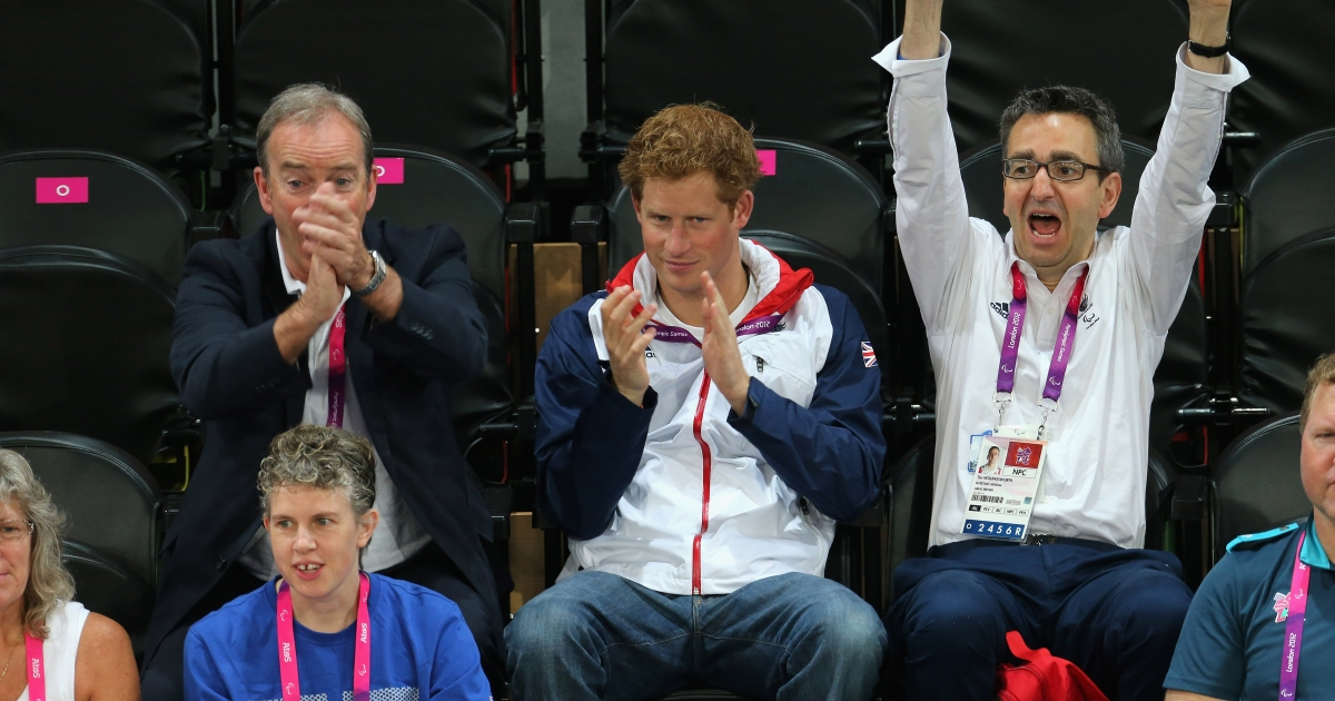 Prince Harry and British Paralympic Association chief executive Tim Hollingsworth (R) attend the Goalball on day 6 of the London 2012 Paralympic Games at The Copper Box on September 4, 2012 in London, England.</p>