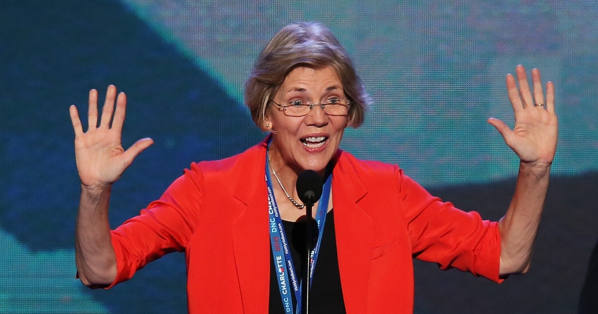 Massachusetts Senate candidate Elizabeth Warren stands at the podium on stage during a walkthrough during day one of the Democratic National Convention at Time Warner Cable Arena on September 4, 2012 in Charlotte, North Carolina.</p>