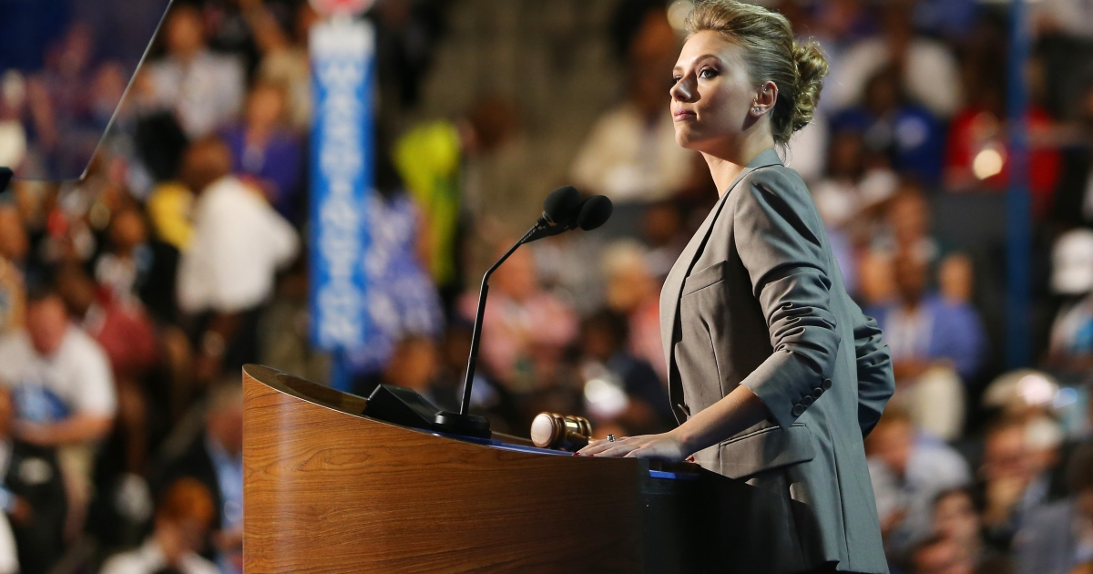 Actress Scarlett Johansson speaks on stage during the final day of the Democratic National Convention at Time Warner Cable Arena on September 6, 2012 in Charlotte, North Carolina.</p>