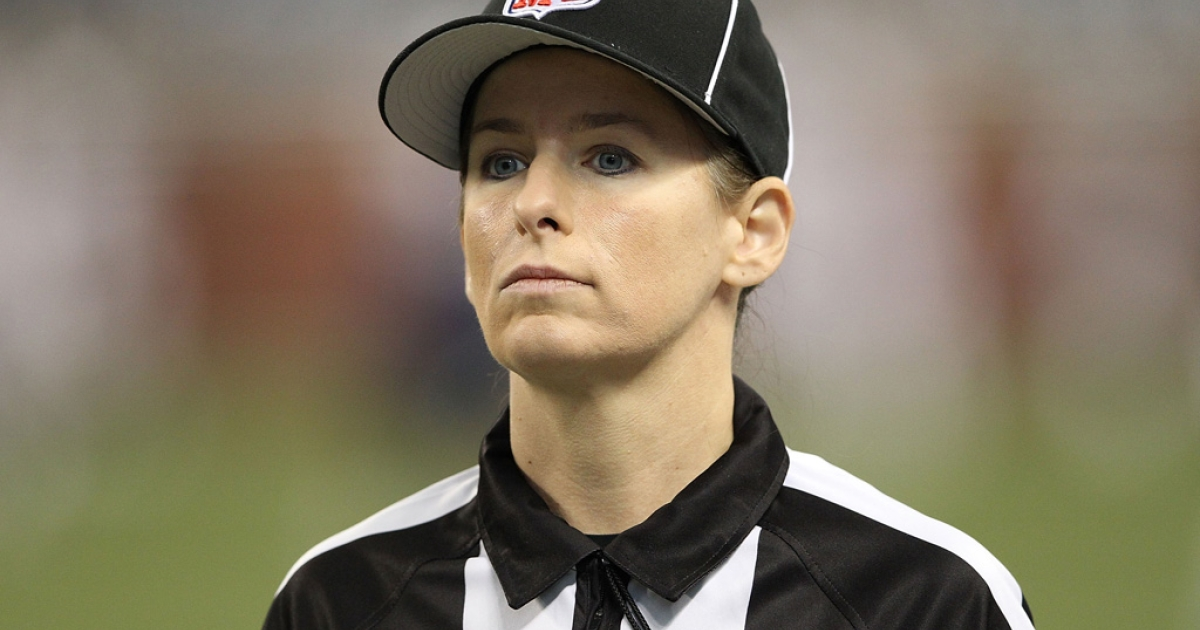 NFL official Shannon Eastin looks on prior to the start of the season opener between the St. Louis Rams and the Detroit Lions at Ford Field on September 9, 2012 in Detroit, Michigan.</p>
