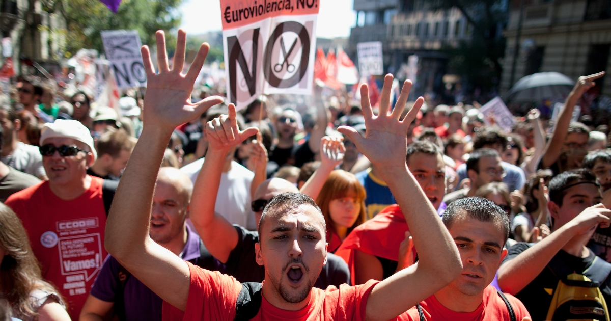 Madrid saw a massive demonstration Saturday over austerity measures.</p>