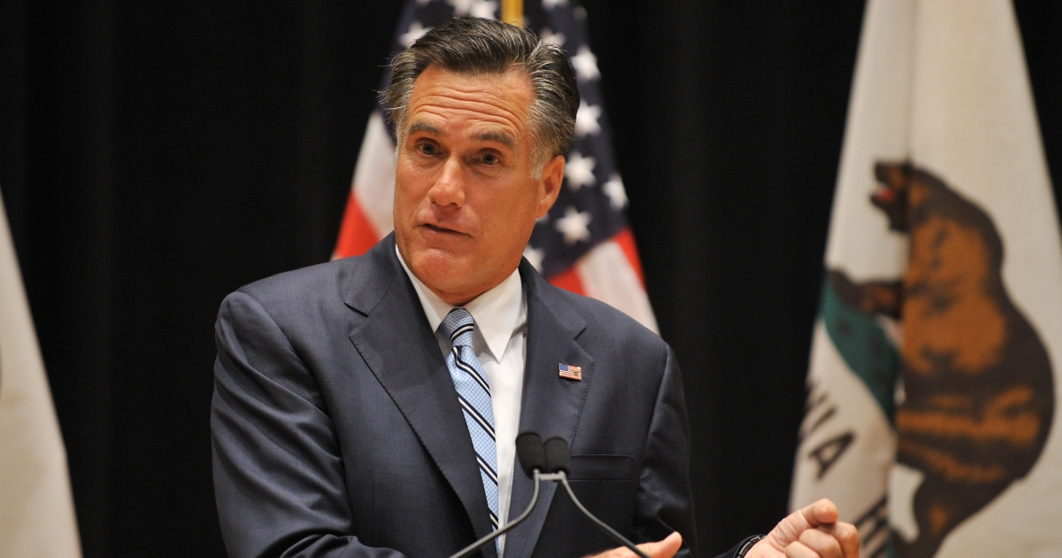 US Republican presidential candidate Mitt Romney speaks to the press in Costa Mesa, California, on September 17, 2012.</p>
