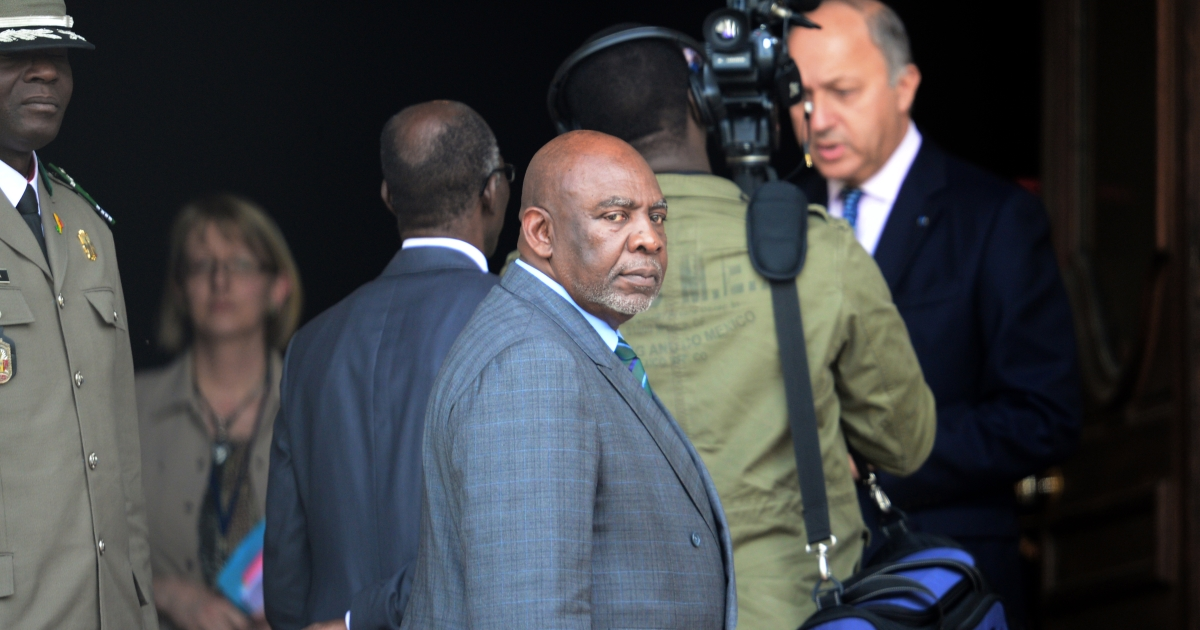 Mali's Prime Minister Cheikh Modibo Diarra leaves after a meeting with France's Foreign minister Laurent Fabius on September 20, 2012 in Paris</p>