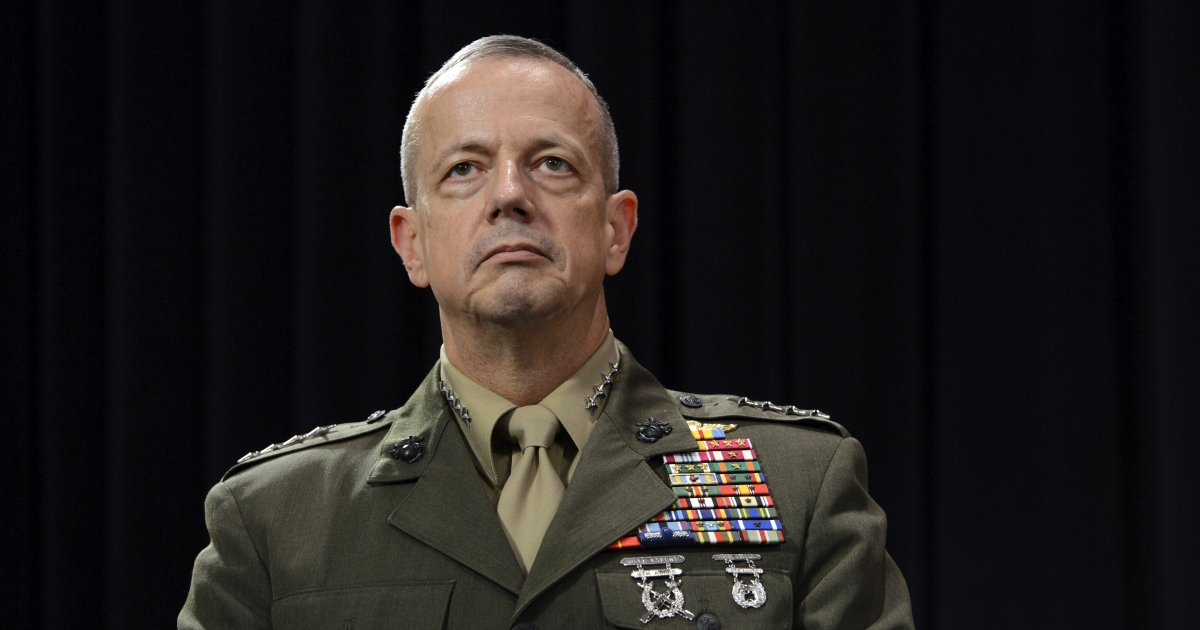 Gen. John Allen looks on following a meeting of NATO Defense Ministers at NATO headquarter in Brussels on Otober 10, 2012.</p>