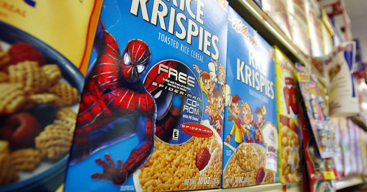 Rice Krispies boxes sit on a shelf May 7, 2002 in New York City.</p>