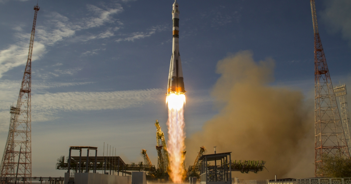A Russian spacecraft carrying three astronauts and 32 fish bound for the International Space Station launched today.</p>