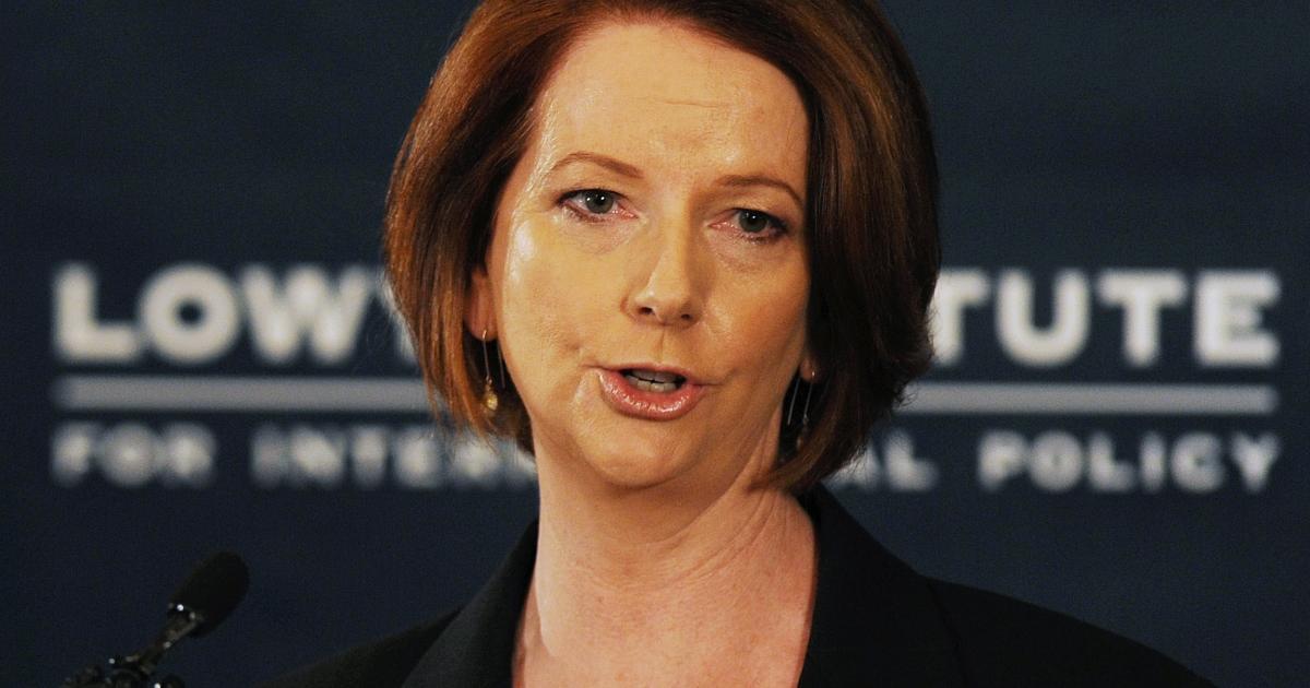 Australian Prime Minister Julia Gillard speaks in Sydney on October 28, 2012.</p>