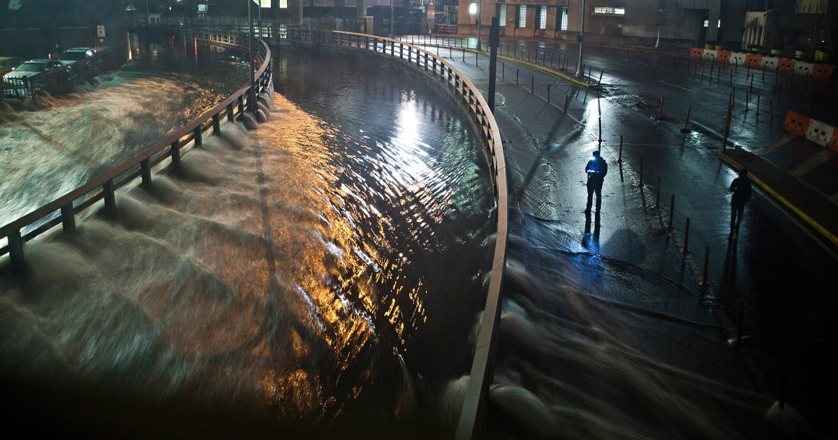 NEW YORK, NY - OCTOBER 29: Water rushes into the Carey Tunnel (previously the Brooklyn Battery Tunnel), caused by Hurricane Sandy, October 29, 2012, in the Financial District of New York, United States. Hurricane Sandy, which threatens 50 million people in the eastern third of the US, is expected to bring days of rain, high winds and possibly heavy snow.</p>