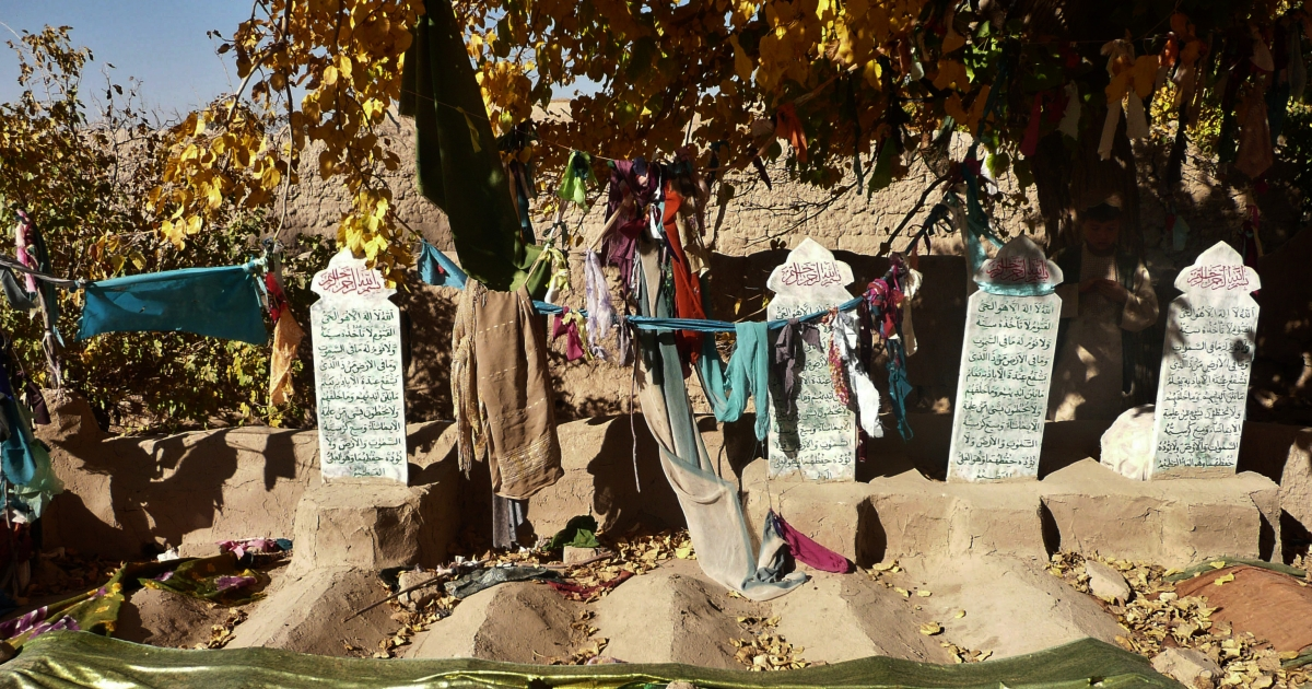Grave stones of some of the sixteen Afghan villagers who were killed in the March massacre are pictured in the grave-yard in Panjwai district of Kandahar province on November 4, 2012.</p>