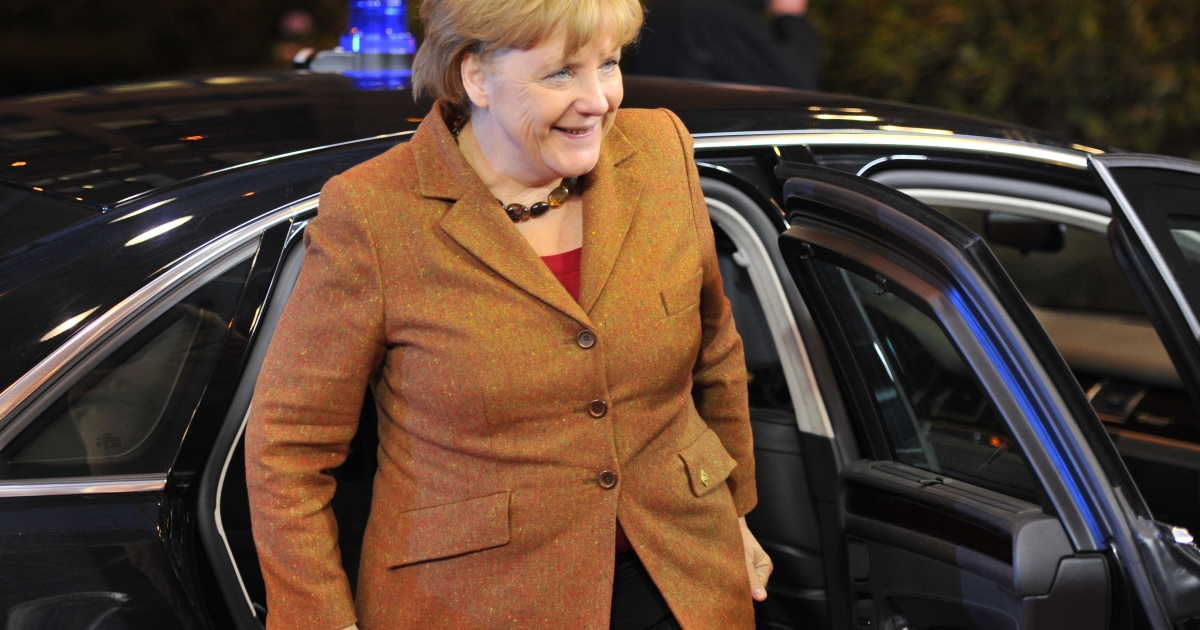German Chancellor Angela Merkel arrives at the EU Headquarters on November 22, 2012 in Brussels, to take part in a two-day European Union leaders summit called to agree a hotly-contested trillion-euro budget through 2020.</p>