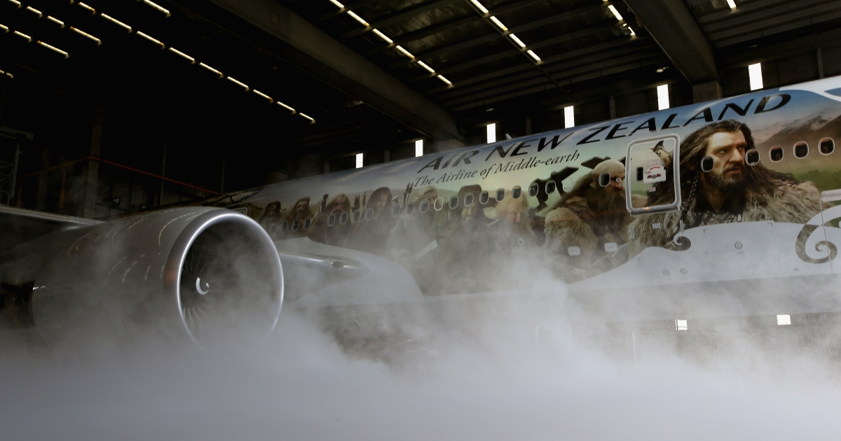 Air New Zealand unveils a 777-300 aircraft with imagery from The Hobbit ahead of the 'The Hobbit: An Unexpected Journey' world premiere at Auckland International Airport on November 24, 2012 in Auckland, New Zealand.</p>