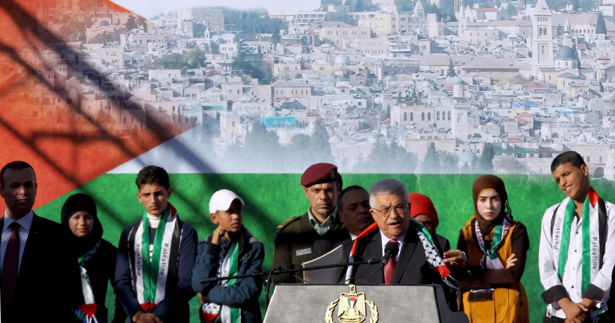 The Palestinian President Mahmoud Abbas has returned home to the West Bank with throngs of people cheering his arrival.</p>