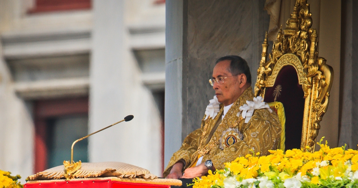 Thailand's King Bhumibol Adulyadej makes a rare public appearance on his 85th birthday  on December 5, 2012 in Bangkok, Thailand.</p>