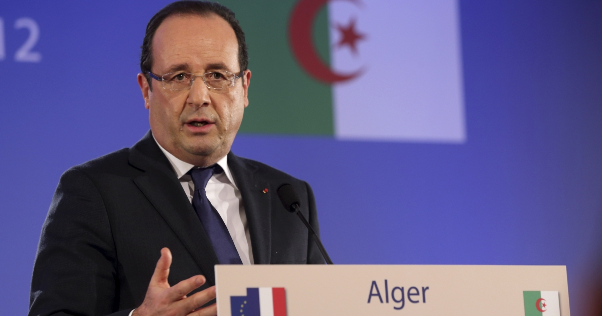 French President Francois Hollande attends a press conference in Algiers on December 19, 2012 as part of the first day of his state visit to Algeria.</p>